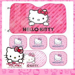 6pcs HelloKitty Sun Protection Car Sun Shades Set (Pink)