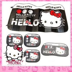 6pcs HelloKitty Sun Protection Car Sun Shades Set (Black)